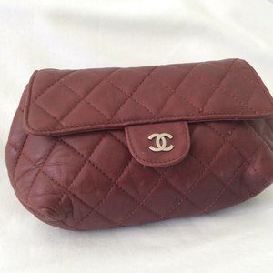 Chanel Bordeaux clutch bag quilted flapbag